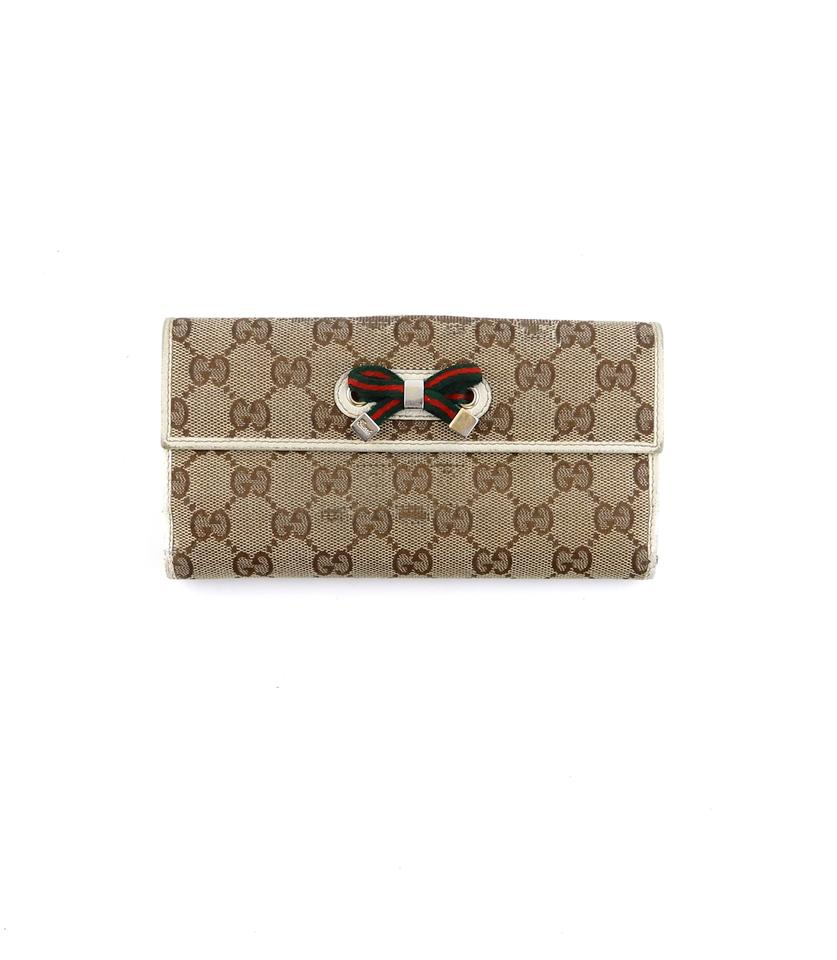 09262a28ab8 Gucci Vintage Canvas Web GG Monogram Long Clutch Italy Wallet Image 0 ...