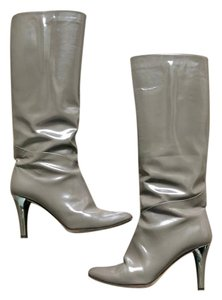 Jimmy Choo Patent Leather Stiletto Pointed Toe Gray Boots