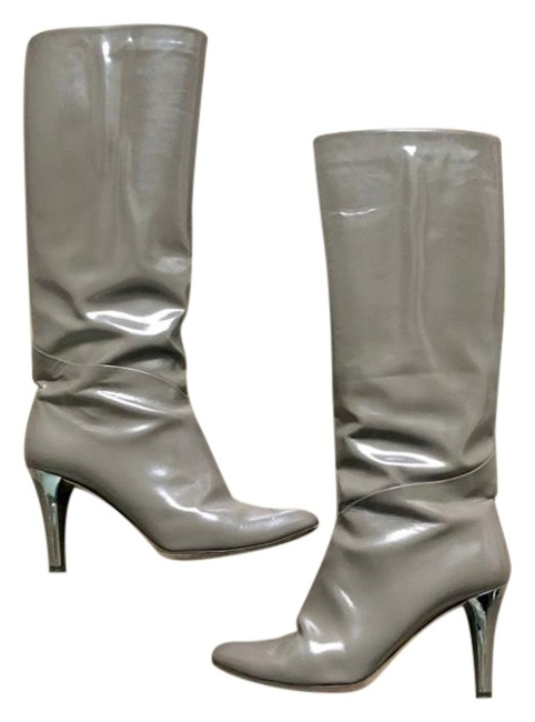 Jimmy Choo Gray Patent Leather High-heel Tall Point Toe Boots/Booties Size EU 40 (Approx. US 10) Regular (M, B) Jimmy Choo Gray Patent Leather High-heel Tall Point Toe Boots/Booties Size EU 40 (Approx. US 10) Regular (M, B) Image 1