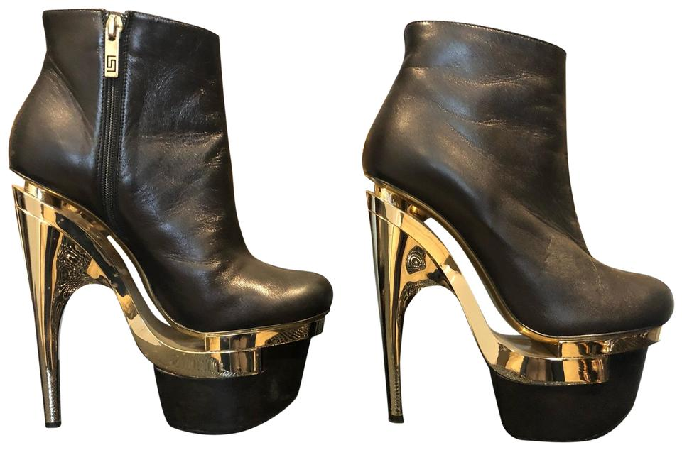 426b2699163 Versace Black Leather with Gold Platform Boots Booties Size US 9 ...