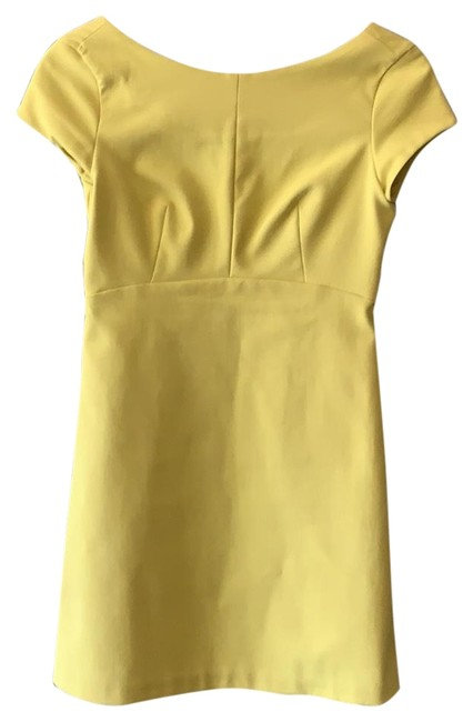 Item - Yellow Shortsleeved Short Cocktail Dress Size 4 (S)