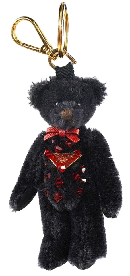 8cbee67c61e5 Prada Black Mohair with Red Swarovski Crystals Logo Bear Bag ...