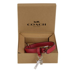 Coach Dog Pet Collar w Bone Charm in Red Small