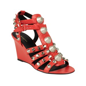 637fd41c5df Balenciaga Leather Open Toe Studded Silver Hardware Strappy Red Pumps