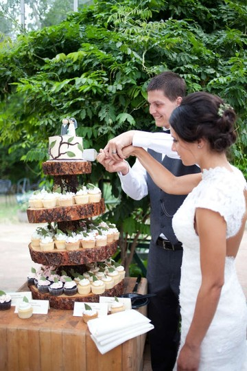 4 Tier Rustic Wooden Cake Stant Reception Decoration