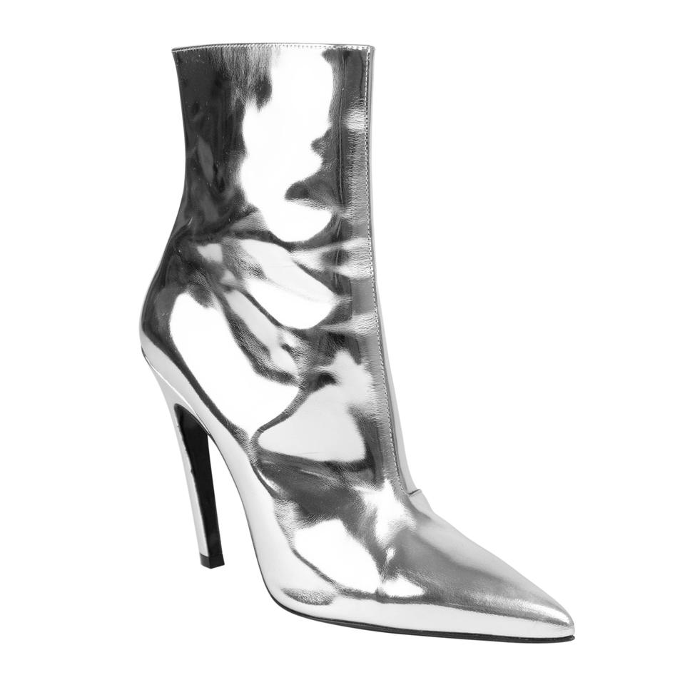 68cc9d45f5b Balenciaga Silver Patent Leather Slash Heel Ankle Boots Booties Size ...