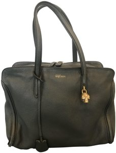 Alexander McQueen Pebbled Soft Leather Skull Lock Double Zip Goldtone Hardware Tote in Army Green