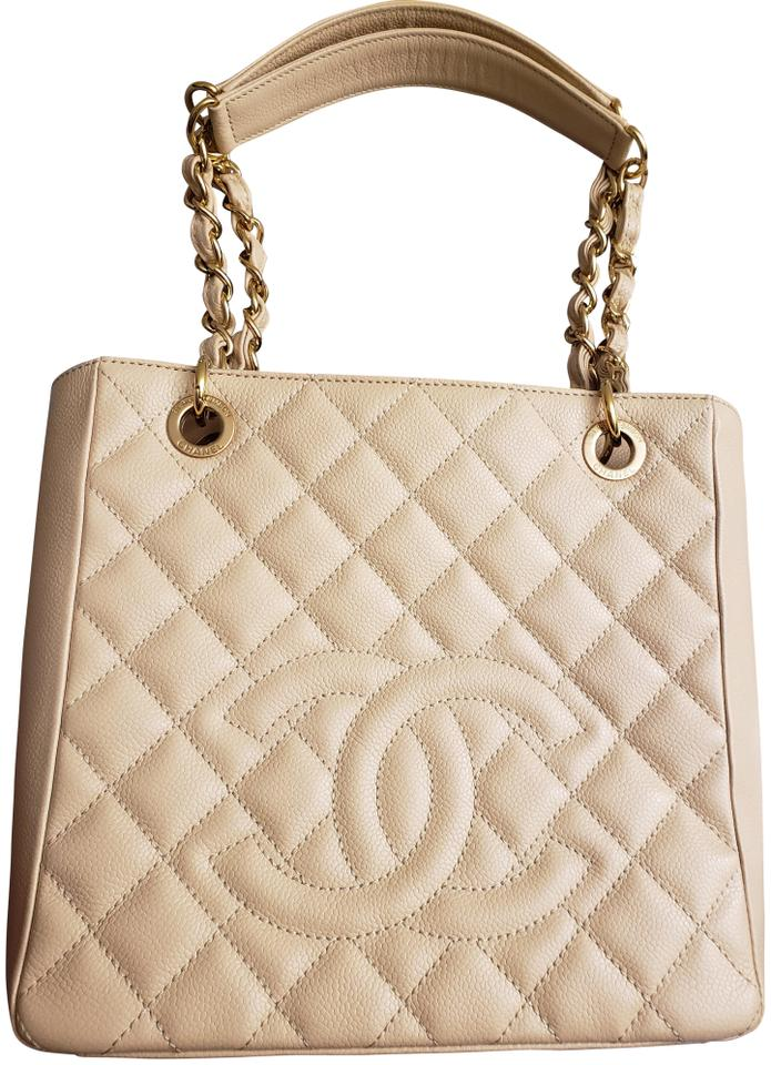 96ef44bda52d Chanel Timeless Shopping Tote Pst Petite Beige Caviar Leather Tote ...