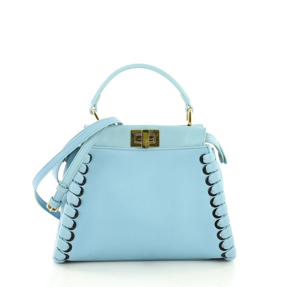 f9b37071a8 Fendi Peekaboo Handbag Whipstitch Mini Blue Leather Tote - Tradesy