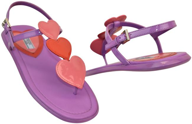 Item - Purple Violet Patent Leather Pink Applique Hearts Thong Flats Sandals Size EU 36 (Approx. US 6) Regular (M, B)