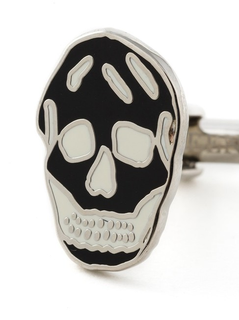 Item - Black and White Enamel Skull Face Cufflinks