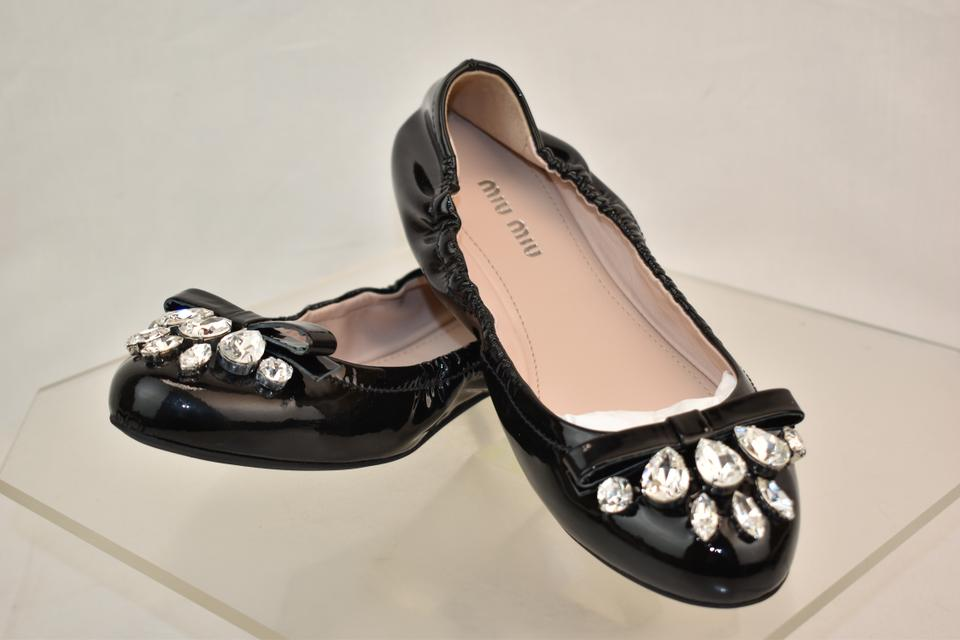 e542f1aec5a Miu Miu Black Nero Patent Leather Crystals Jeweled Bow Flats Size EU 37  (Approx. US 7) Regular (M