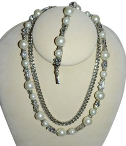 Givenchy GIVENCHY Pearl Crystal and Silver Chain Necklace Bracelet Set