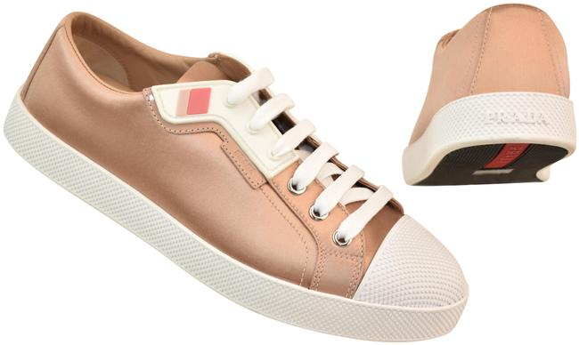Item - Beige Nude Satin White Textured Rubber Cap Toe Logo Low Sneakers Size EU 41 (Approx. US 11) Regular (M, B)