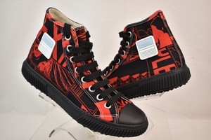 Prada Red Black Comic Print Canvas Logo Lace Up Hi Top Sneakers 7 Us 8 Shoes