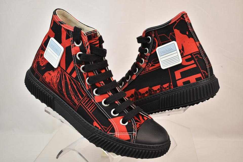 Prada Red Black Comic Print Canvas Logo Lace Up Hi Top Sneakers 7 Us 8 Shoes 50% off retail