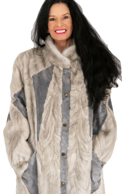 Item - Silver XL Gray with Leather Stroller Jacket Xl-2xl Coat Size 16 (XL, Plus 0x)