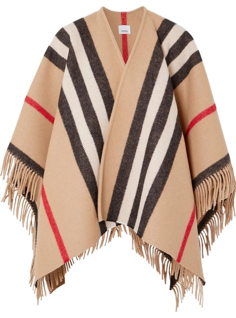 Preload https://img-static.tradesy.com/item/25093955/burberry-multicolor-striped-wool-in-camel-ponchocape-size-os-one-size-0-1-650-650.jpg