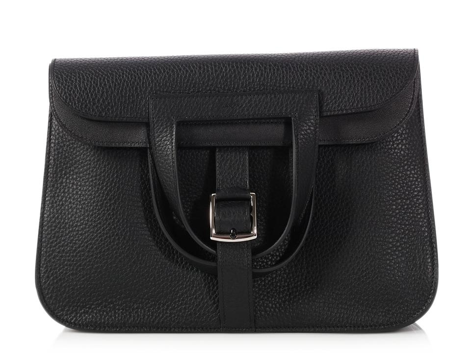 b68a1c69ab Hermès Halzan 31 Clemence Black Leather Cross Body Bag - Tradesy