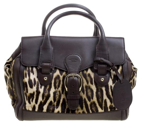 af0225ce42e Gucci Boston Dark Animal Print Calf Hair and Heritage Brown Leather Satchel