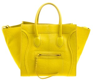Céline Calfhair Leather Tote in Yellow
