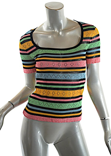 Item - Couture Rayon Crochet Scoop Neck Multi Color Sweater
