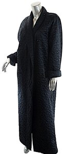 Sonia Rykiel Rhinestones Long Duster Quilted Black Jacket