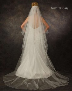 J.L. Johnson Bridals White Chapel Length Two Layer Wedding Veil