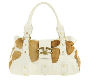 Valentino Leather Calfhair Satchel in White