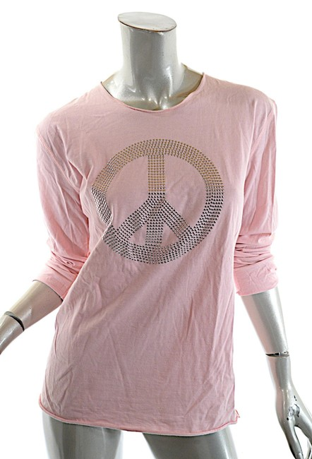 Item - Pink Cotton Silver Peace Sign Rolled Edge T-s Tee Shirt Size 12 (L)