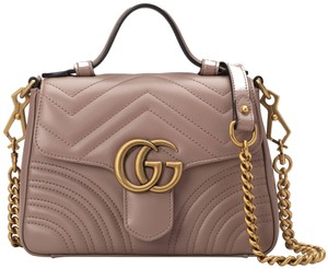 16c93852e8 Gucci Marmont Gg Mini Top Handle Dusty Pink Nude Leather Shoulder ...