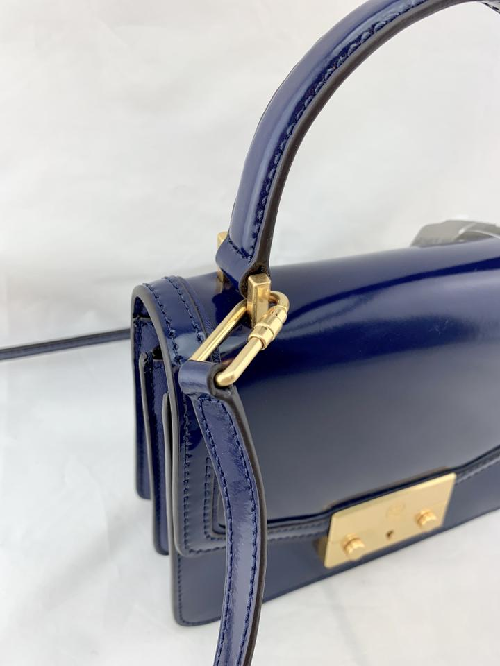 5be657abec7 Tory Burch Juliette Top Handle Navy Leather Satchel - Tradesy