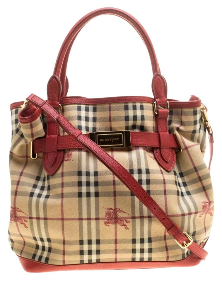 07079b658726 Burberry Beige Red Haymarket Check Pvc and Medium Golderton Beige Leather  Tote