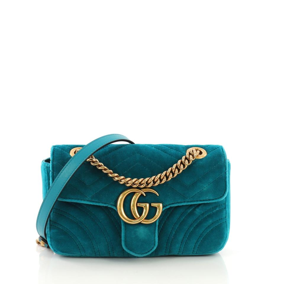 8d3ad9859fe Gucci Marmont Gg Flap Matelasse Mini Teal Velvet Cross Body Bag ...