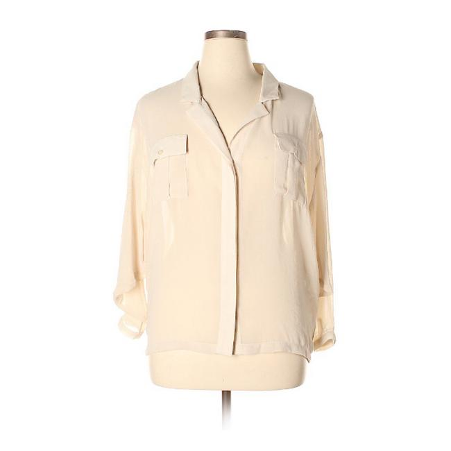 Item - Tan Long Sleeves Sheer Blouse Button-down Top Size 14 (L)