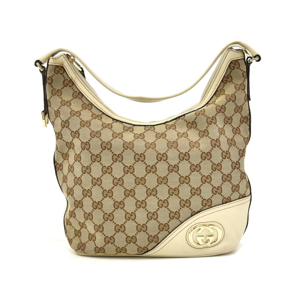 224d4e470e56 Gucci Britt Gg Off-white Leather Logo Beige Canvas Hobo Bag - Tradesy