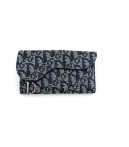 Dior Vintage Trotter Canvas Leather Kidney Clutch Wallet Italy