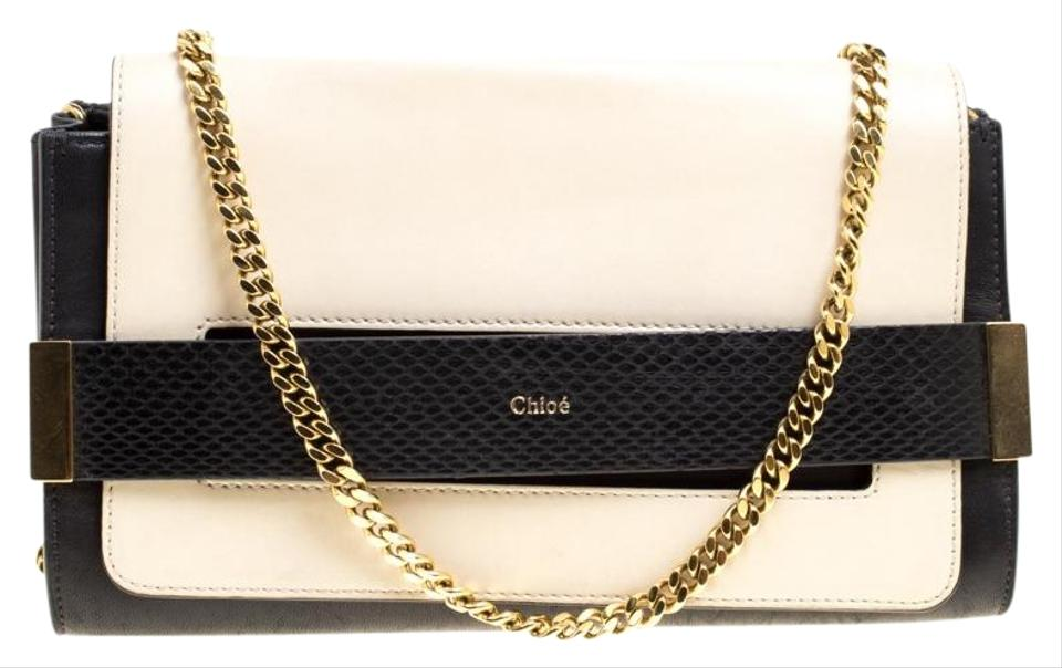 11c32bebf Chloé Black/Light Beige Small Elle Black Leather Clutch - Tradesy