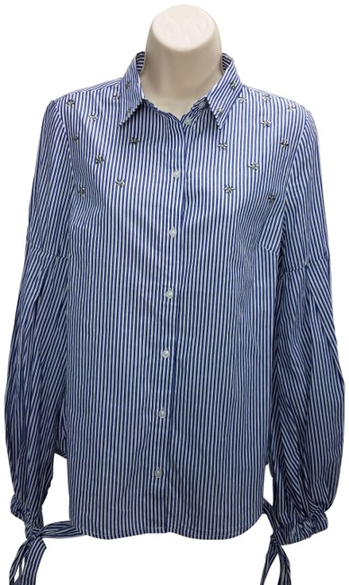 Item - Blue Striped Stars Button-down Top Size 4 (S)
