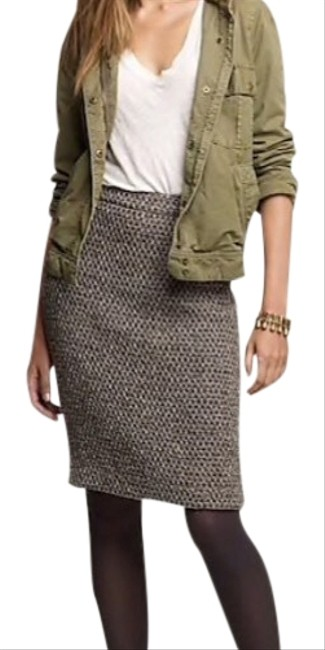 """Item - Metallic Brown Silver Timber Tweed Pencil Style# 32637 Fits 32"""" Waist Skirt Size 8 (M, 29, 30)"""