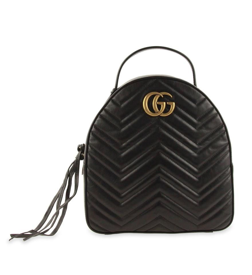 741c9c1ec Gucci Marmont Gg Quilted Black Leather Backpack - Tradesy