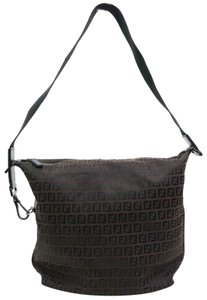 34abad780d5a Fendi Mint Condition Zucchino Small Brown Black Classic Iconic Hobo Bag