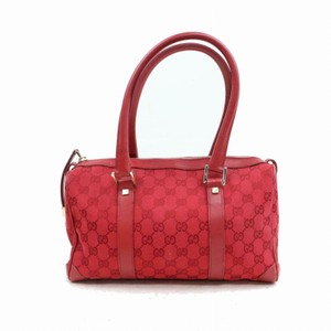 Gucci Doctor's Boston Rare Great Pop Of Color Satchel in Red large G logo print canvas and red leather