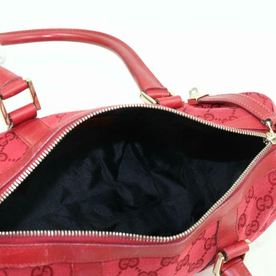 Gucci Doctor's Boston Rare Great Pop Of Color Satchel in Red large G logo print canvas and red leather Image 3