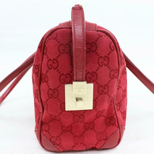 Gucci Doctor's Boston Rare Great Pop Of Color Satchel in Red large G logo print canvas and red leather Image 4
