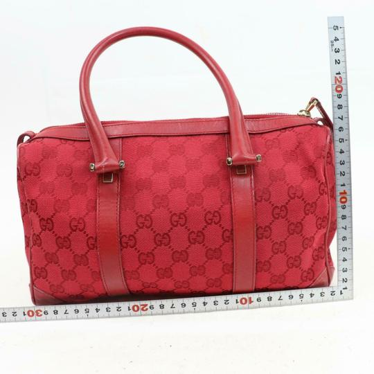 Gucci Doctor's Boston Rare Great Pop Of Color Satchel in Red large G logo print canvas and red leather Image 5