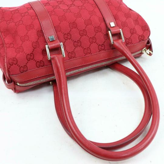 Gucci Doctor's Boston Rare Great Pop Of Color Satchel in Red large G logo print canvas and red leather Image 8