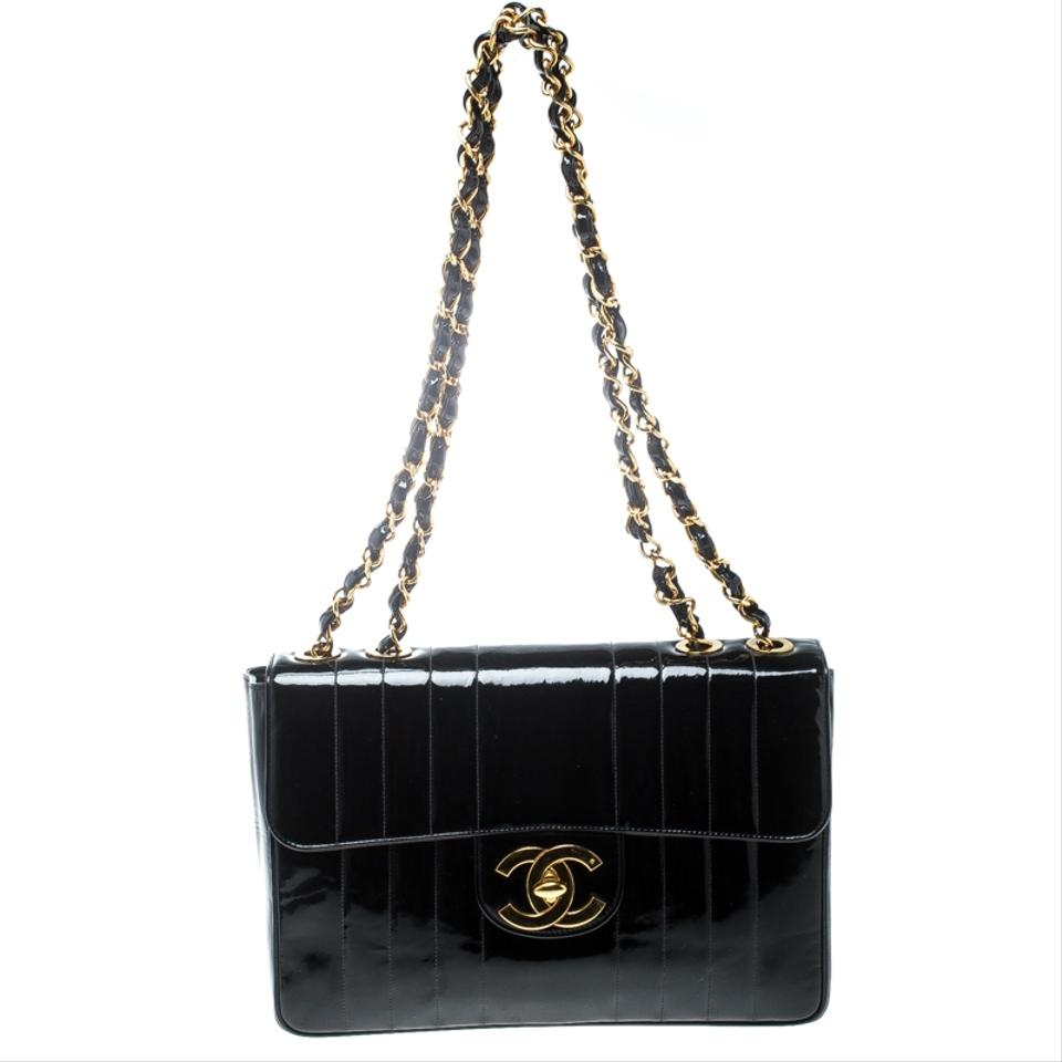 5547130a17bfd7 Chanel Classic Flap Vertical Quilted Jumbo Vintage Classic Single Black  Patent Leather Shoulder Bag