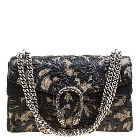 372d52562237 Gucci Dionysus Gg Supreme and Leather Small Arabesque Black Coated ...