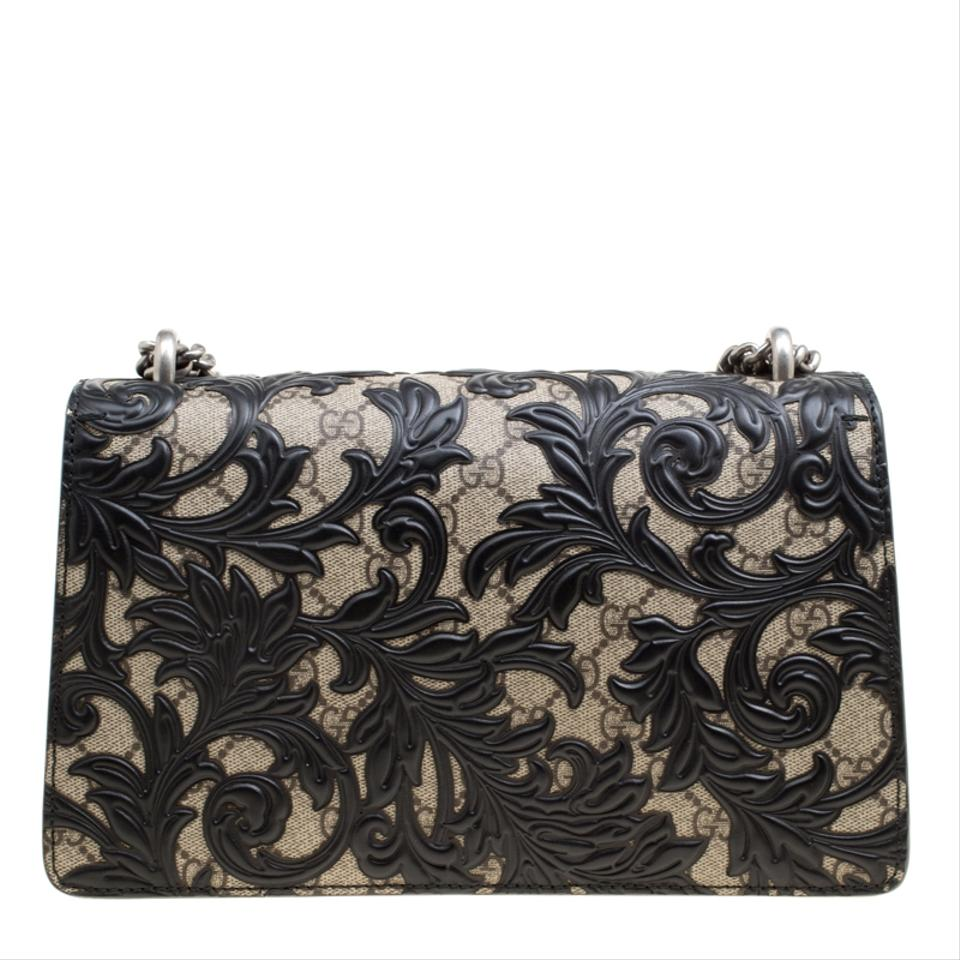 676eabe693d Gucci Dionysus Gg Supreme and Leather Small Arabesque Black Coated Canvas  Shoulder Bag - Tradesy